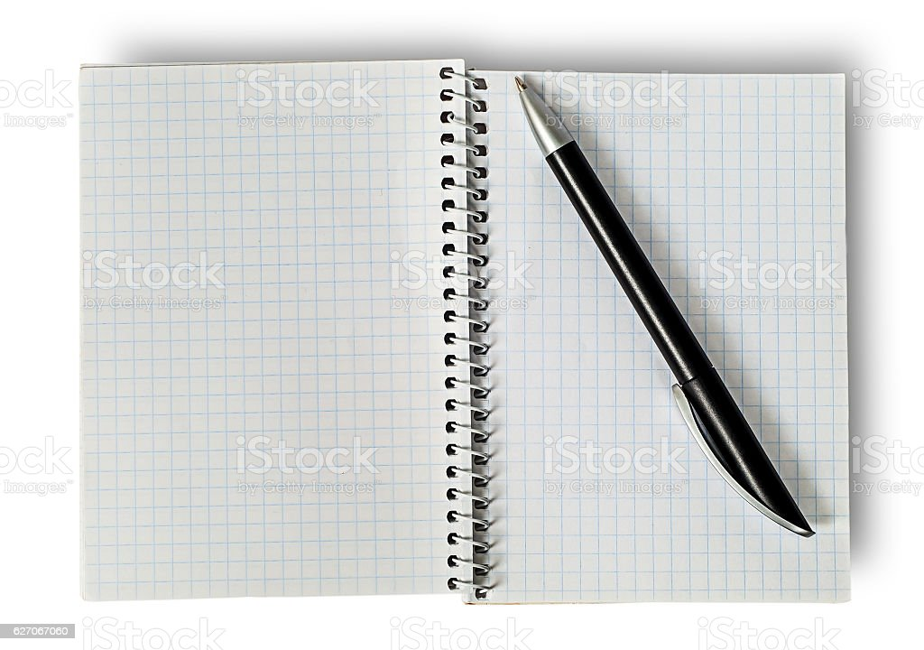 Open notepad and ballpen stock photo