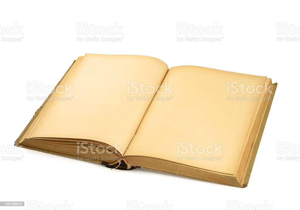 open old blank book on white royalty-free stock photo