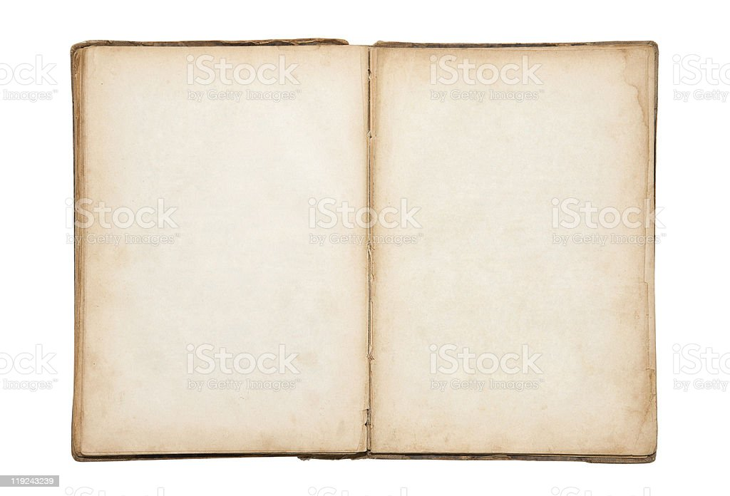 Open old blank book with clipping path stock photo