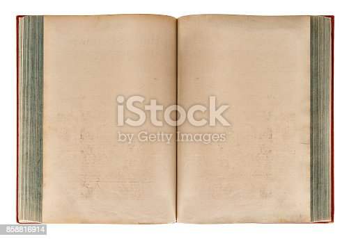 istock Open old book Aged paper texture 858816914