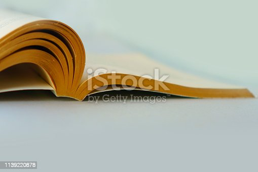 istock Open old book on table 1139220878