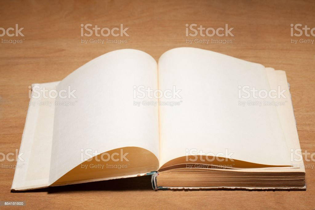 Open old book. stock photo