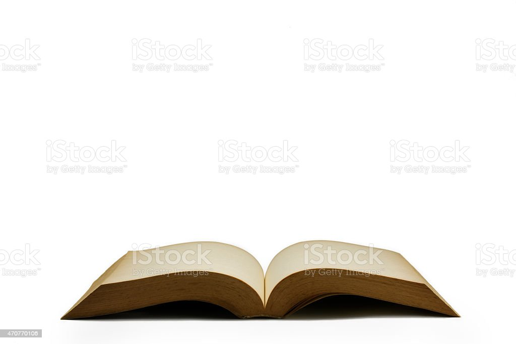 Open old Book Side View - Stock Image stock photo