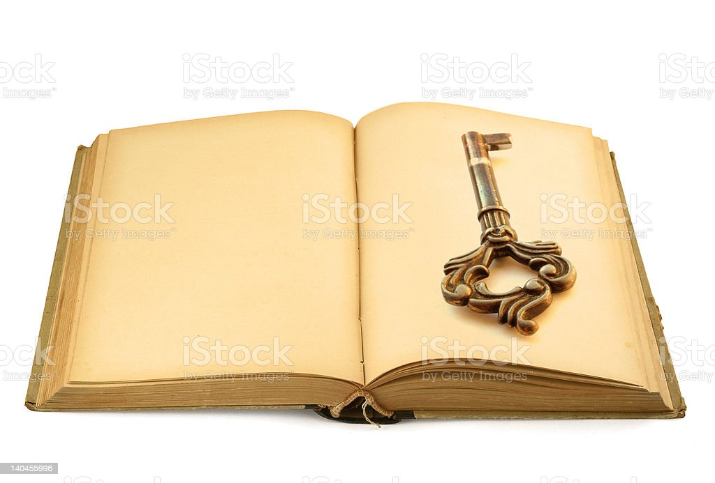 open old book with key motif #2 royalty-free stock photo