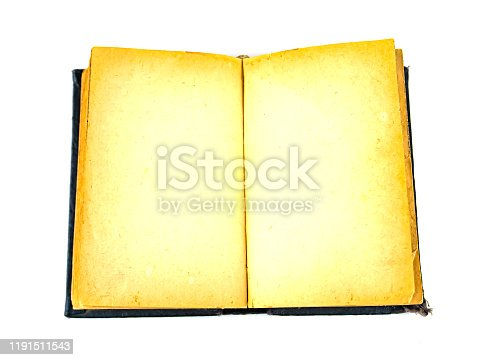 istock Open old book with place for text on a white background. 1191511543