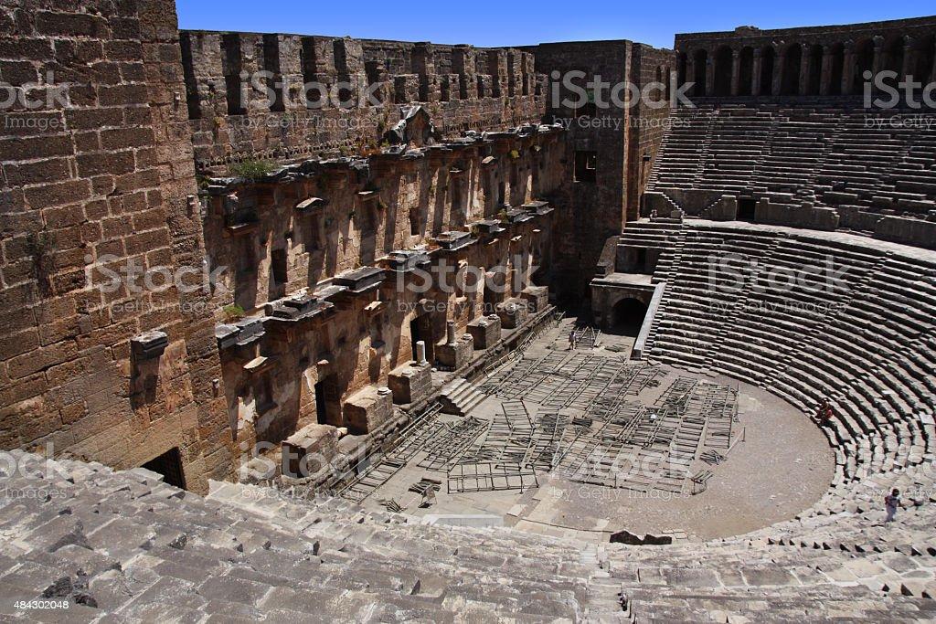Open old circle theater Aspendos in Antalya, archeology background. stok fotoğrafı