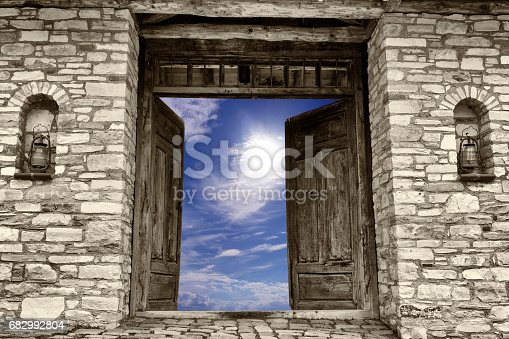 Stone - Object, Stone Material, Brick, Wall - Building Feature, Rock - Object, Old, Oil lamp, Door, Sky