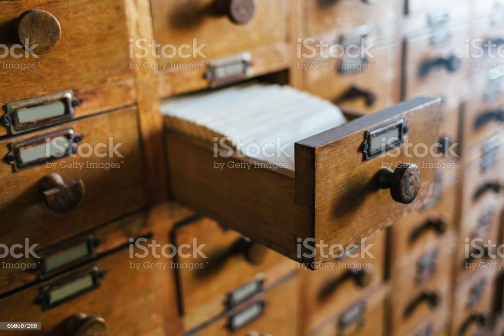 Open old style wooden drawer stock photo
