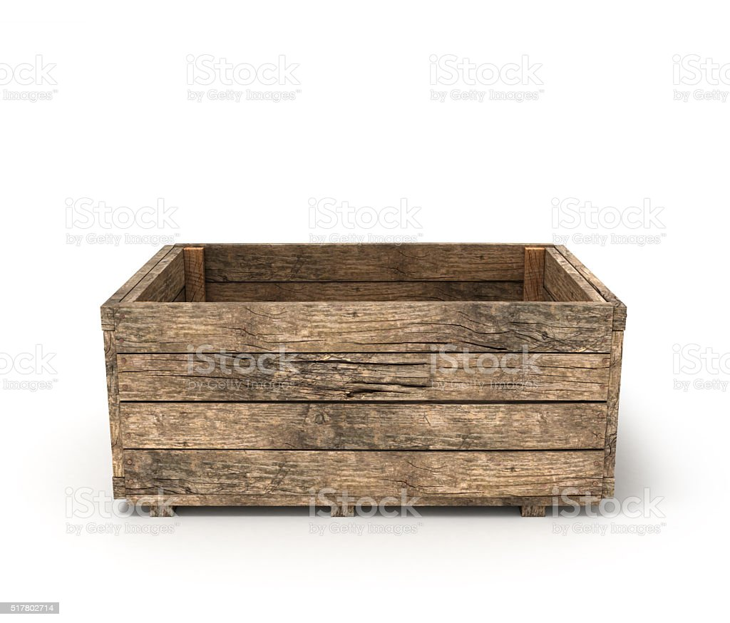 open old wooden box stock photo