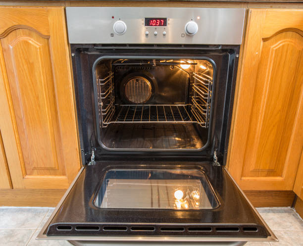 Open oven with hot air ventilation stock photo