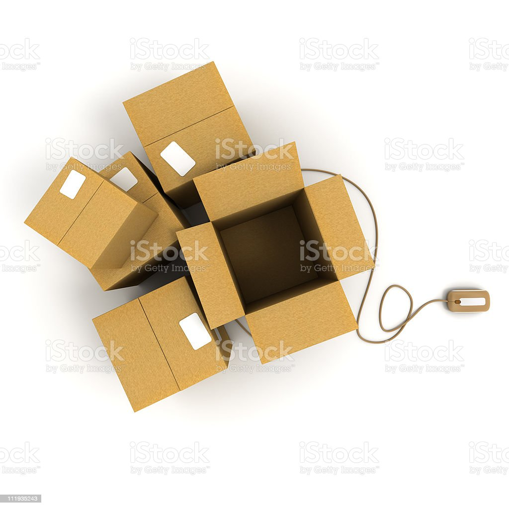 Open packages with mouse royalty-free stock photo