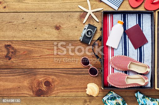 istock Open packed suitcase with vacation accessories flat lay on floor 624498130