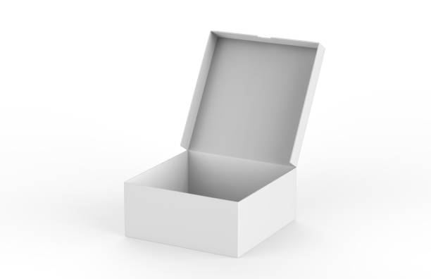 open packing box on isolated white background, 3d illustration - puste pudełko zdjęcia i obrazy z banku zdjęć