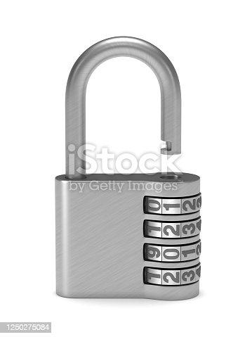 open padlock on white background. Isolated 3D illustration