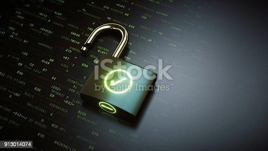 913017342 istock photo Open padlock with green OK checkmark 913014074
