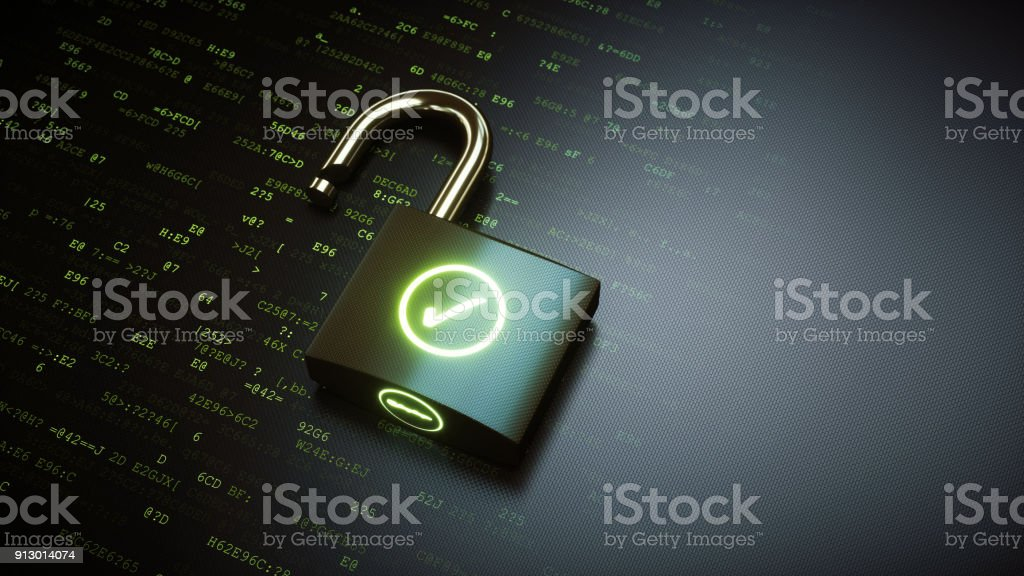 Open padlock with green OK checkmark stock photo