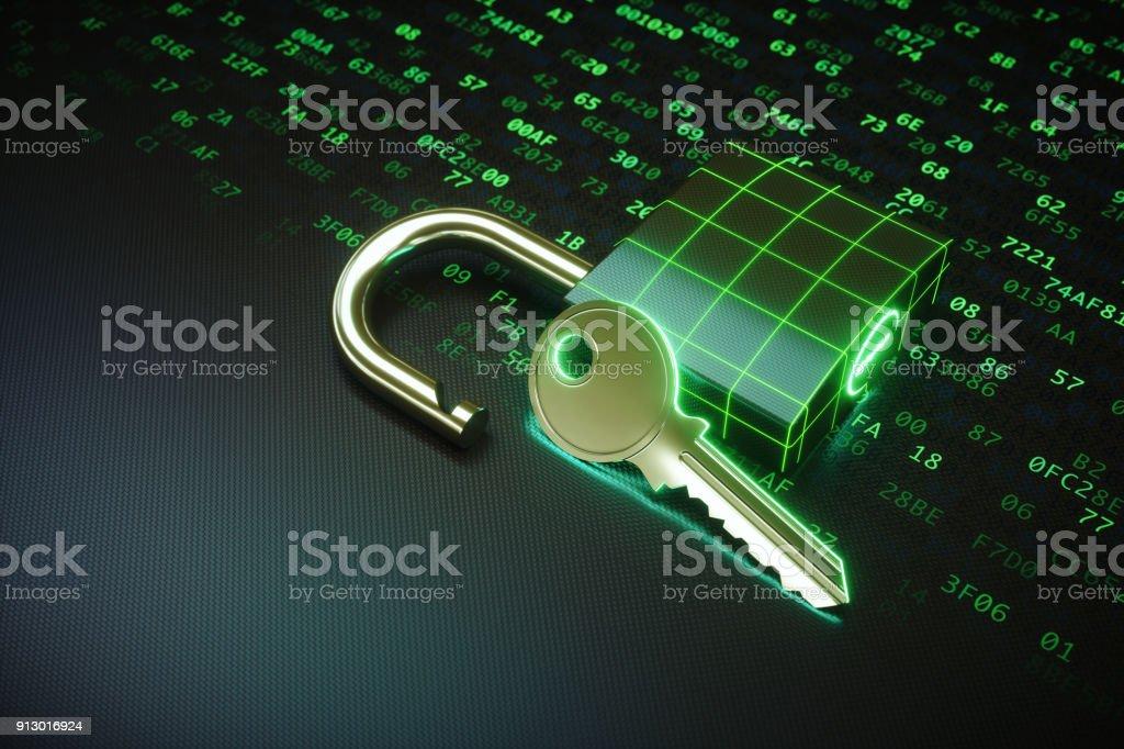 Offenen Vorhängeschloss mit Schlüssel liegen auf einer grünen Binärcode Oberfläche – Foto