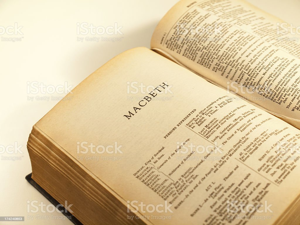 Open page of a book on Shakespeare stock photo