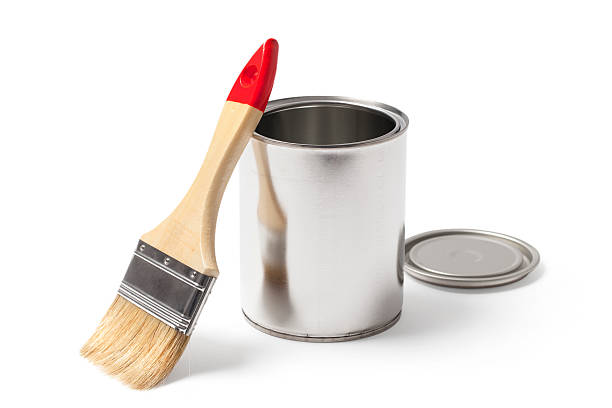Open Paint Can and a Brush with a Clipping Path stock photo