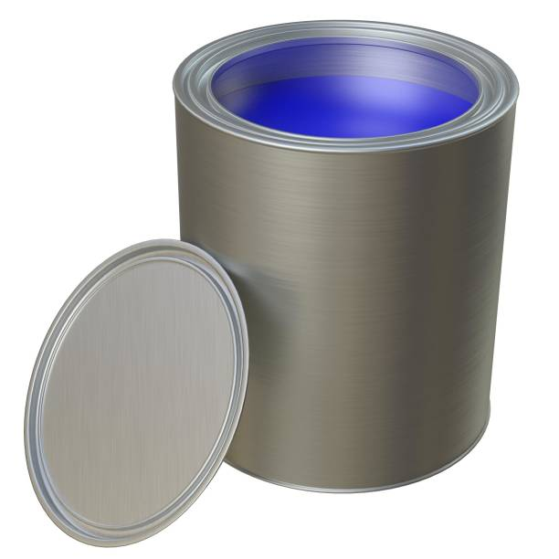 Open paint can and lid - foto stock
