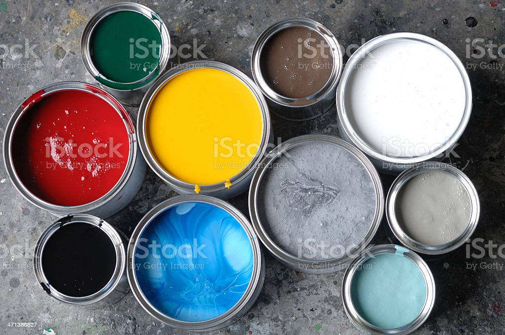 Open Paint Tins stock photo