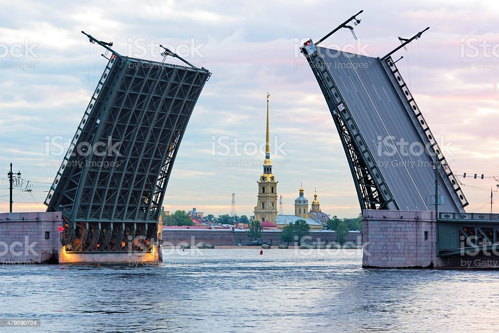 Open Palace bridge, Neva river, Saint-Petersburg, Russia stock photo