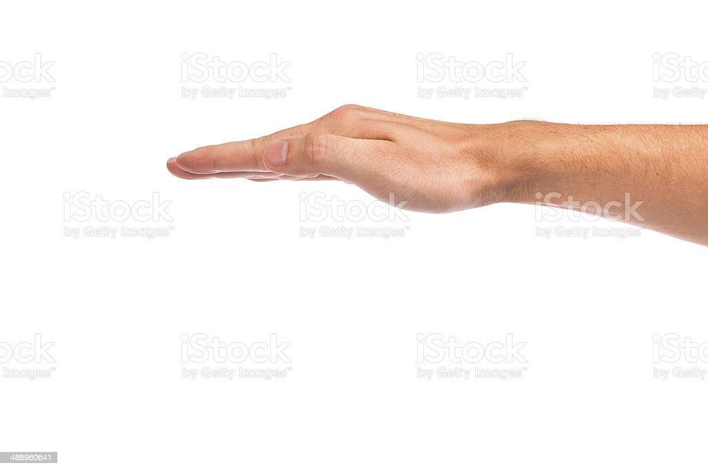 Open palm hand gesture of male hand royalty-free stock photo