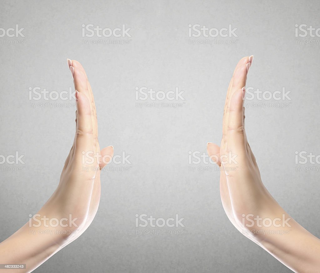 Open palm  hand gesture royalty-free stock photo