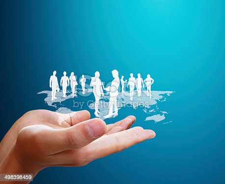 522382893istockphoto Open palm hand social network 498398459