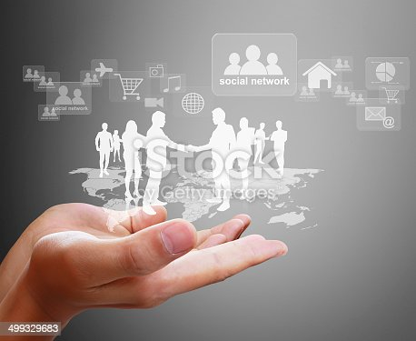 522382893istockphoto Open palm hand social network 499329683