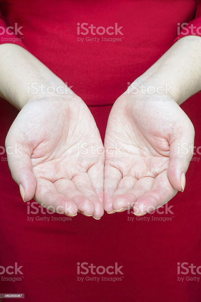 Open palms. Concept of asking, giving stock photo