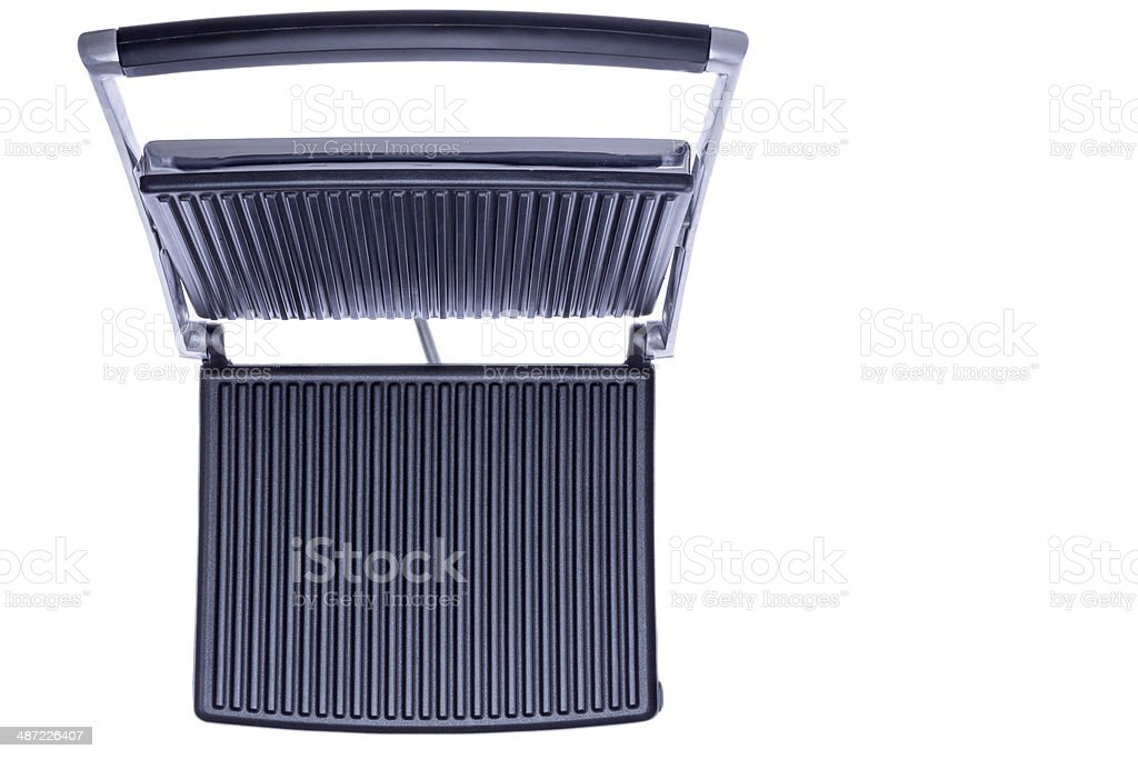 Open panini press showing the cast iron plates stock photo