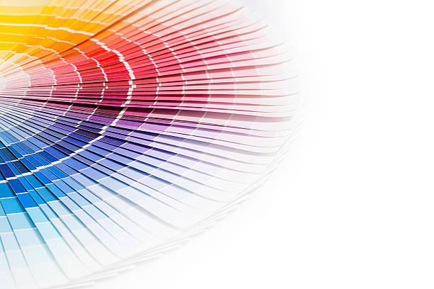 Open Pantone sample colors catalogue. Colour swatches book. Rainbow sample colors catalogue. cmyk stock pictures, royalty-free photos & images