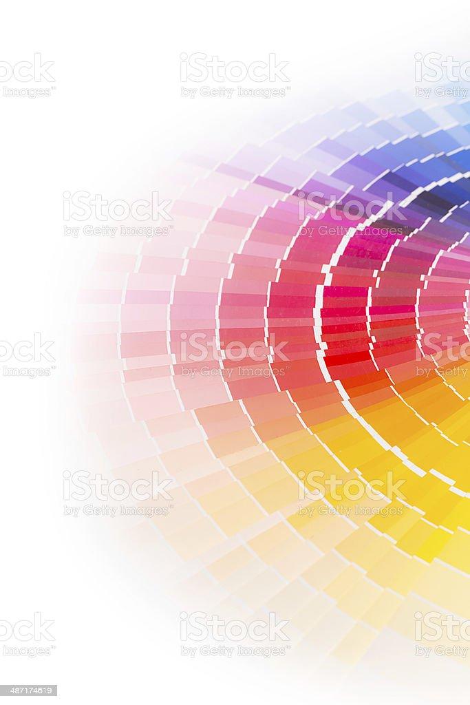 Open Pantone sample colors catalogue. stock photo