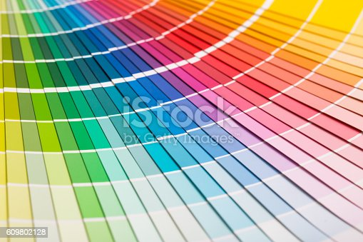istock Open Pantone sample colors catalogue. 609802128