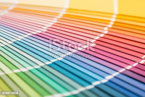 istock Open Pantone sample colors catalogue. 626673608