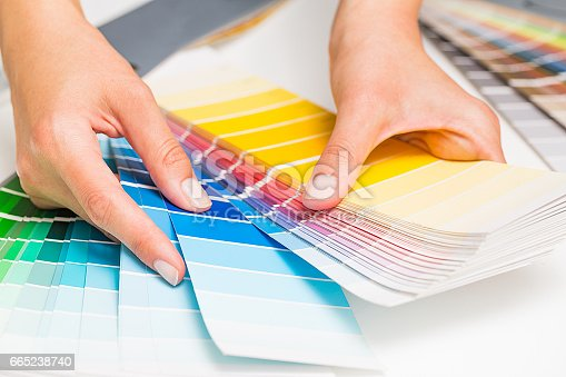 istock Open Pantone sample colors catalogue. 665238740