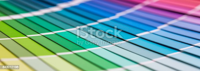 istock Open Pantone sample colors catalogue. 843012198