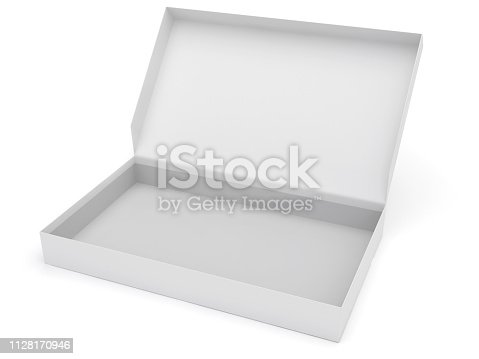 Open paper box. Digitally Generated Image isolated on white background