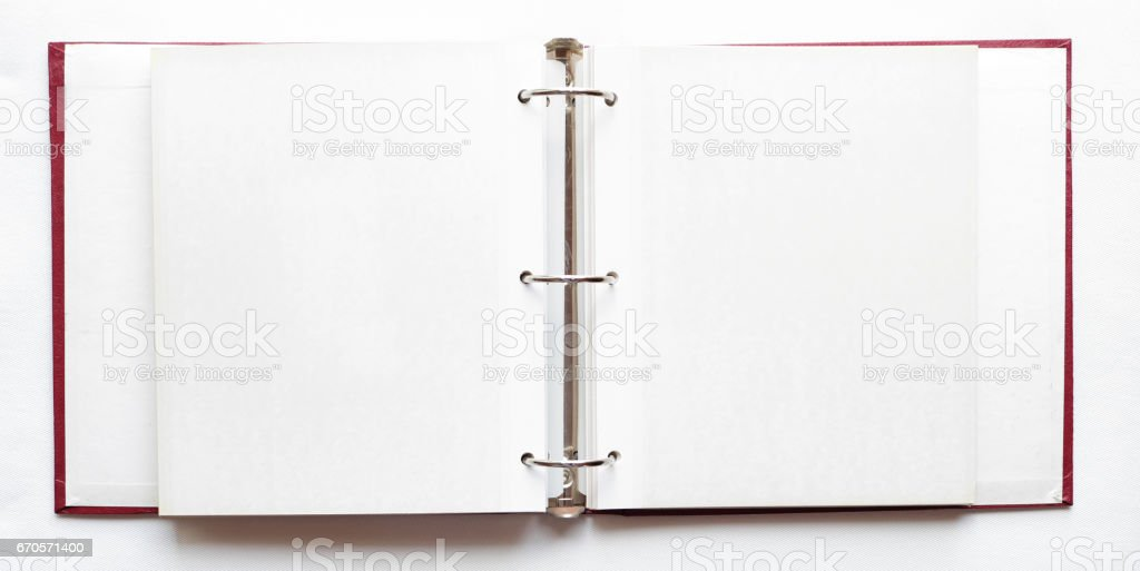 open photo album, blank pages stock photo