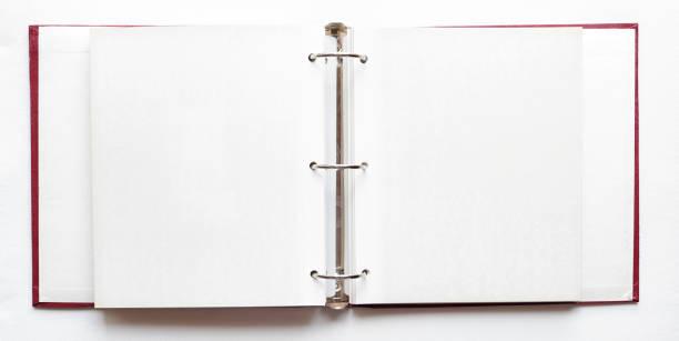 fotoalbum, leere seiten zu öffnen - ringbuch stock-fotos und bilder