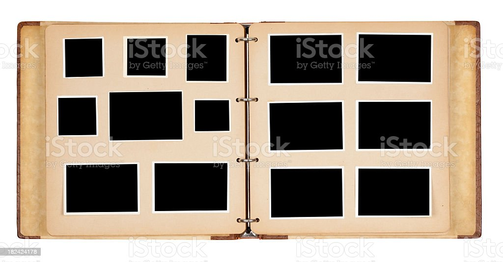 Open photo album with black spaces for photographs stock photo