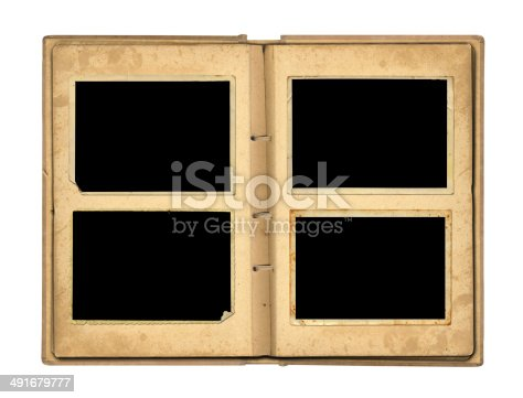 istock Open photoalbum with ribbon for photos on the isolated 491679777