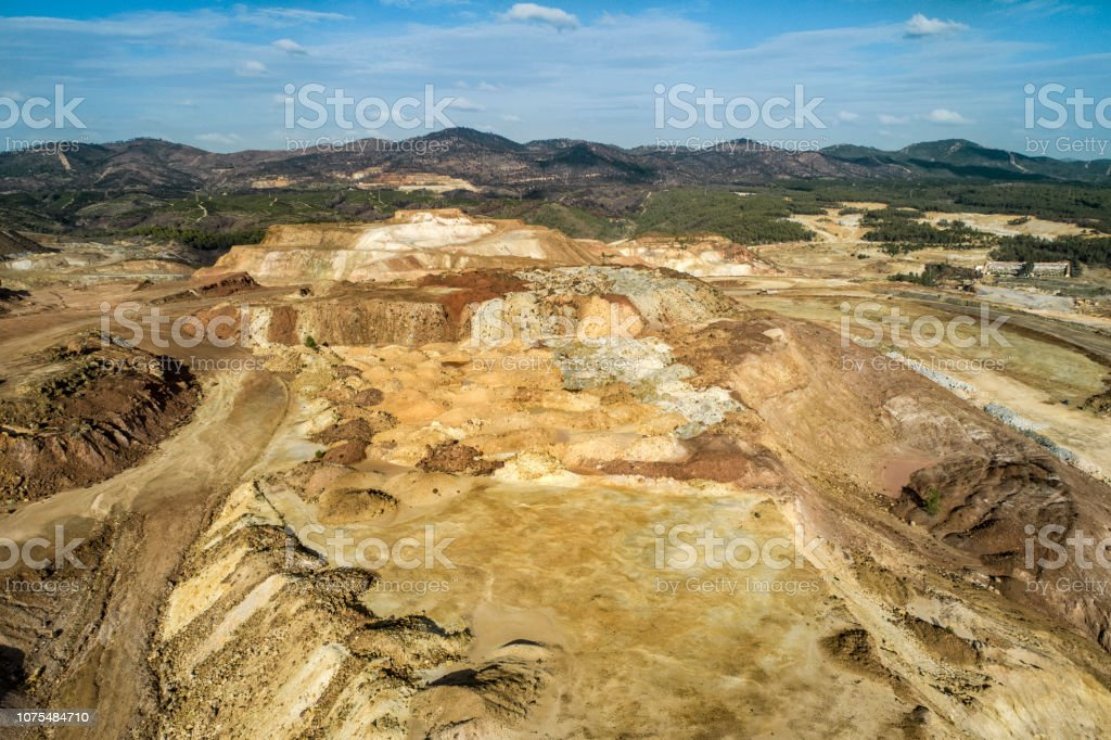 Open pit mines in Rio Tinto Huelva Spain stock photo