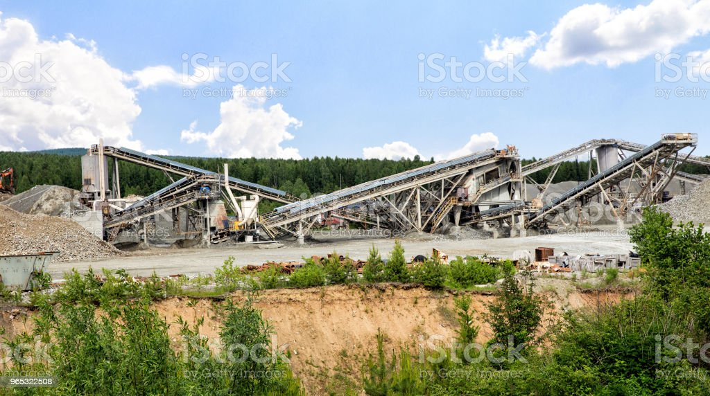 Open pit mining and processing plant for crushed stone, sand and gravel to be used in the roads and construction industry zbiór zdjęć royalty-free