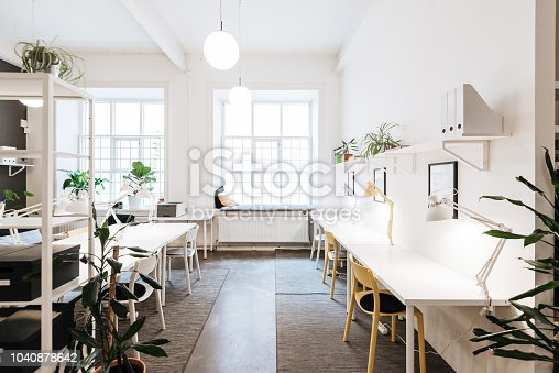 Coworkers working in modern co-working space in Scandinavia. Empty open plan office with meeting room and computer room in Sweden