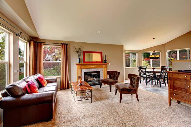 open plan design for living room with dining area - tapijt stockfoto's en -beelden