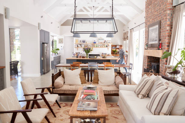 open plan interior of a modern period conversion family home - family room stock photos and pictures