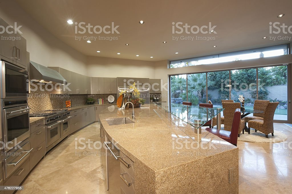 Open Plan Kitchen With Dining Area stock photo