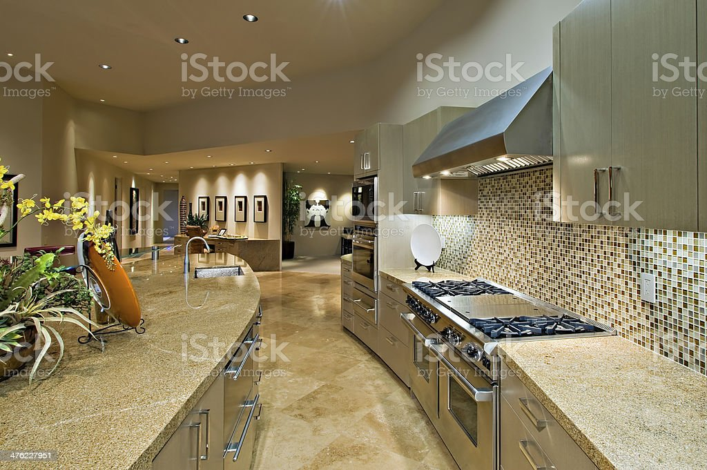 Open Plan Kitchen With Living Room stock photo